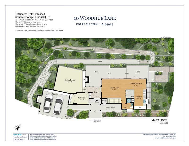 Floor plan for entry level, 10 Woodhue lane
