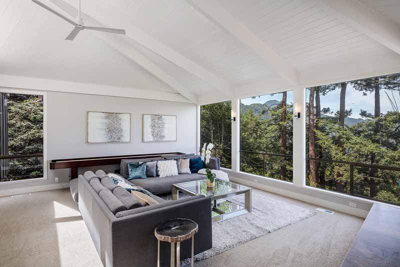 Living Room showing vaulted ceiling and large windows to view of Mt Tamalpais, 10 Woodhue Lane