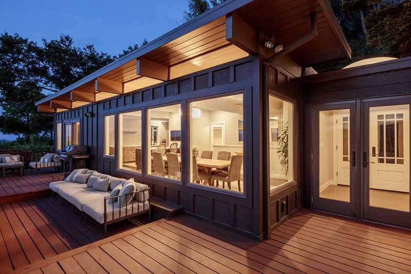 Twilight view of decks and living areas, 10 Woodhue Lane