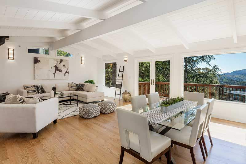 Living and Dining room at 1220 El Cide Ct, Mill Valley, CA