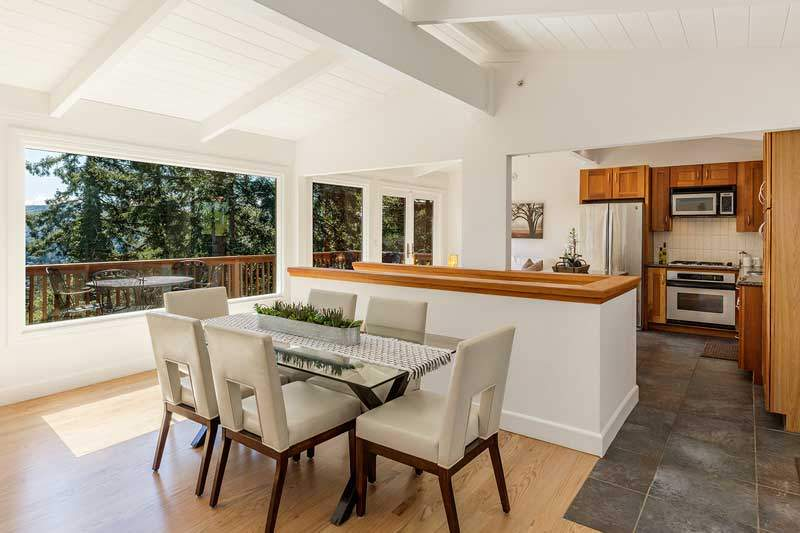 Kitchen and Dining room at 1220 El Cide Ct, Mill Valley, CA
