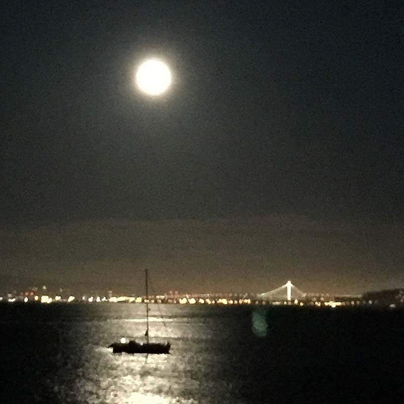 Moonlight view of San Francisco from 217 Richardson St, Sausalito, CA