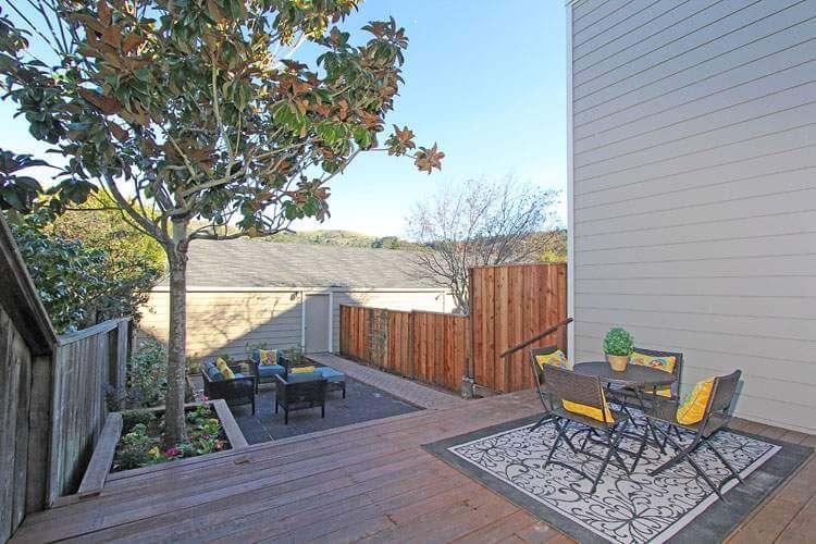 Back deck, patio, and garden area.