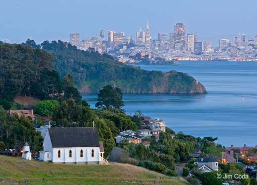 St. Hilarys Church, Tiburon, CA with Angel Island and San Francisco skyline