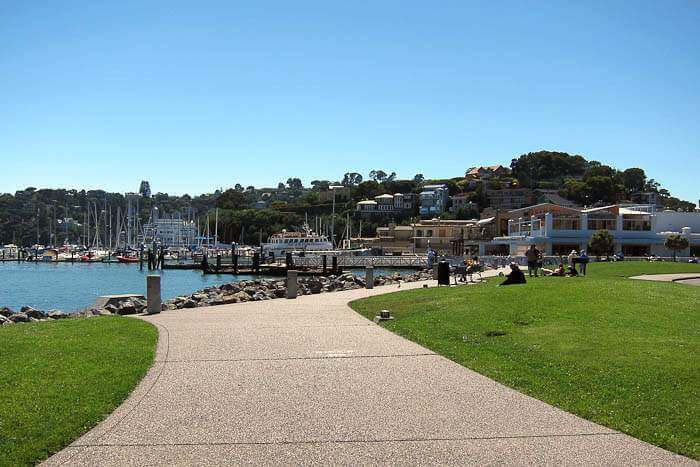 Downtown Tiburon, CA and waterfront promenade