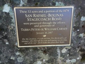 Plaque for the San Rafael Bolinas Stagecoach Road