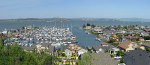 Marina at Paradise Cay, Tiburon, CA looking toward the East Bay