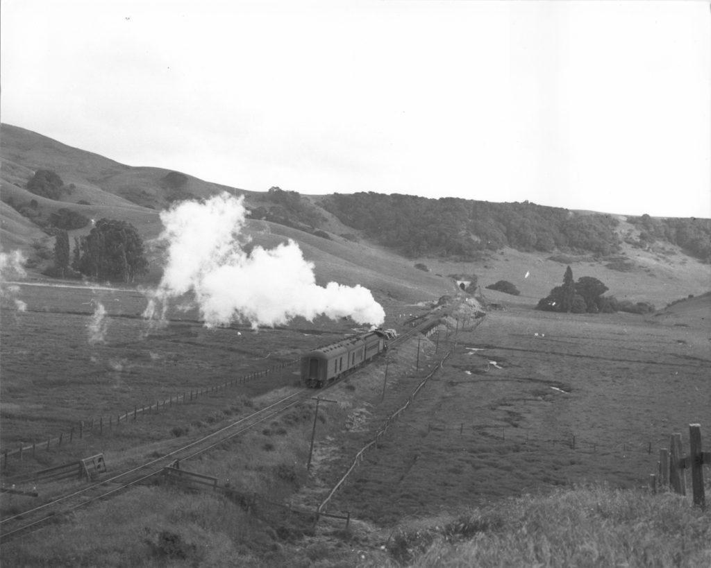 Train along the present Madera del Presidio Drive, Corte Madera, CA and though the mountain to Tiburon
