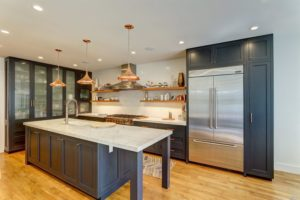 For 2018: Gray cabinets with white quartz counters, stainless appliances. Oak flooring