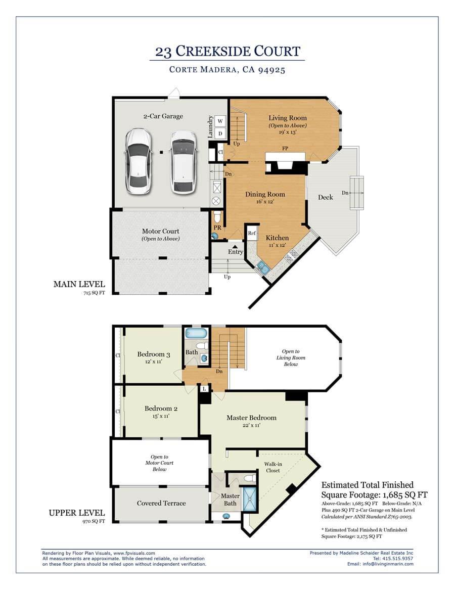 Floor plan for 23 Creekside Court, Corte Madera, CA