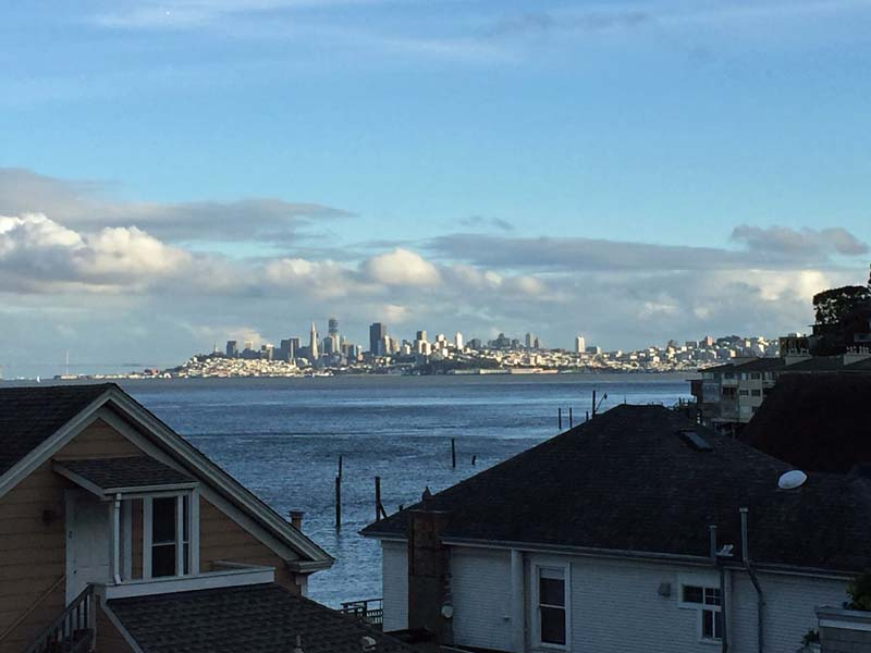 View of San Francisco skyline from living room of 217 Richardson St, Sausalito