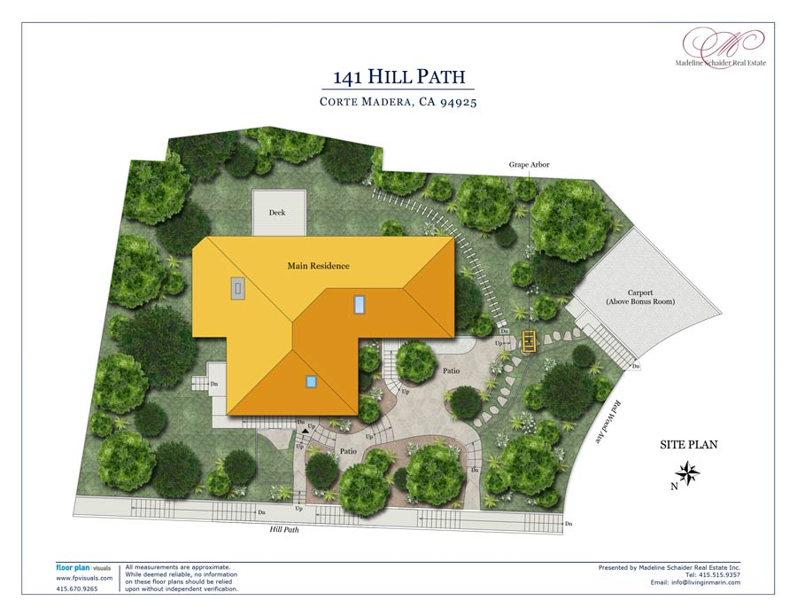 Site plan and gardens at 141 Hill Path, Corte Madera, CA